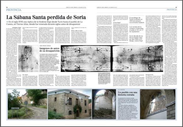 Reportaje sobre la Sábana Santa de La Cuesta en Diario de Soria